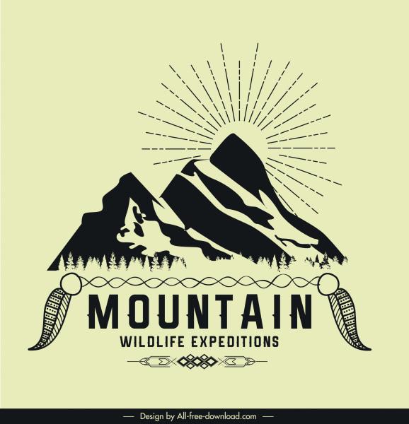 adventure logotype mountain sketch retro design