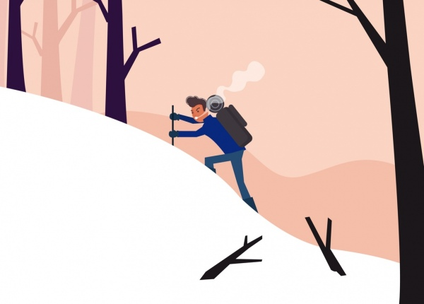 adventure painting mountain climber snow icons cartoon character