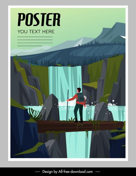 adventure poster hiker cascade sketch cartoon design