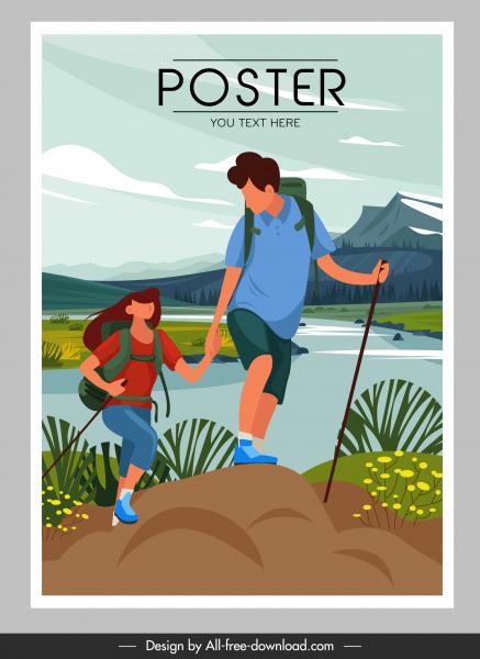 adventure poster mountain climbing sketch cartoon design