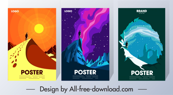 adventure poster templates dark colorful classical design
