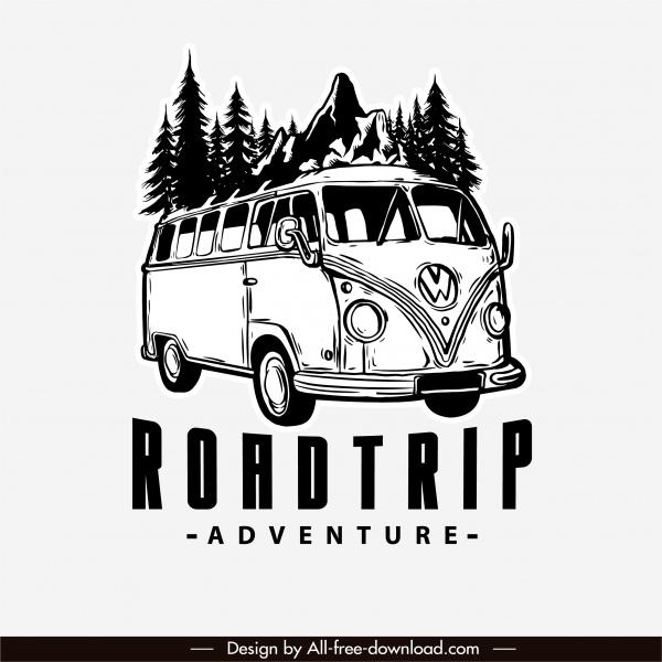 adventure road trip logo classic bus sketch