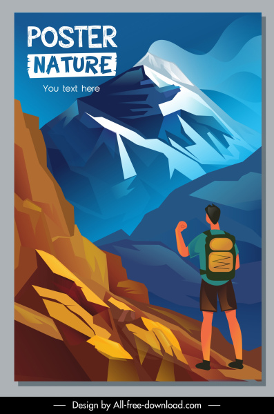 adventure travel poster mountain climbing sketch