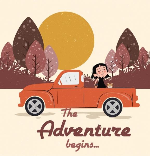 adventure trip background girl car icon colored cartoon