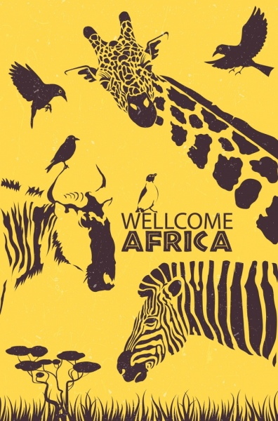africa advertisement wild animals icons retro design