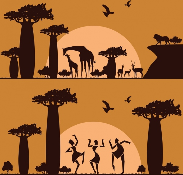 africa background sets animals land human silhouette design
