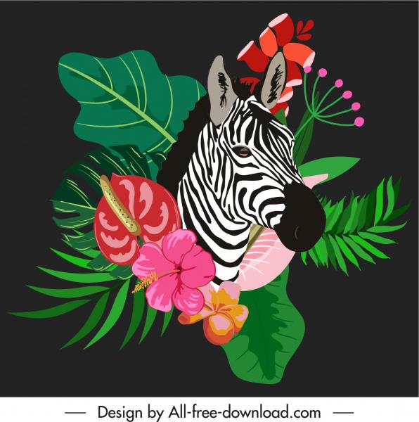 africa decor template zebra flowers leaves sketch