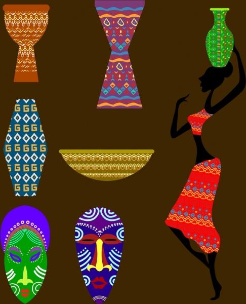africa design elements colorful flat symbols isolation