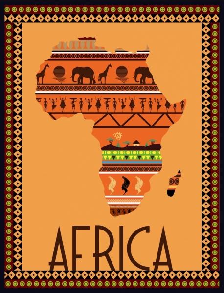 Africa Map Background.Africa Map Background Colored Flat Symbols Design Free Vector In