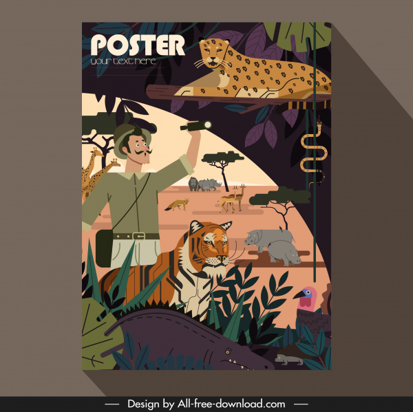 africa poster template explorer wild animals icons sketch