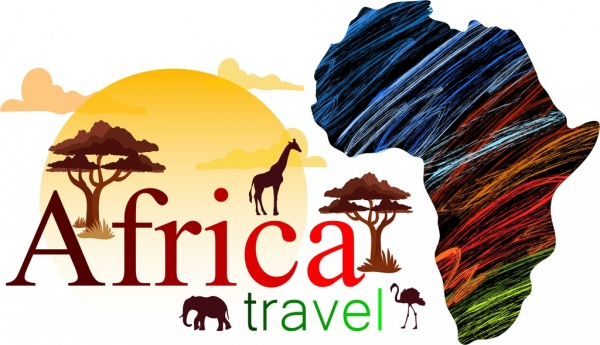 africa travel advertisement map land silhouette animals icons