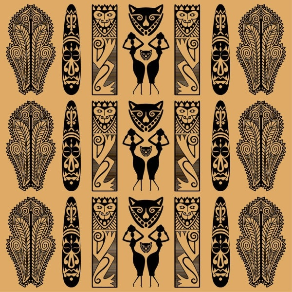 african ethnic background decoration 01 vector