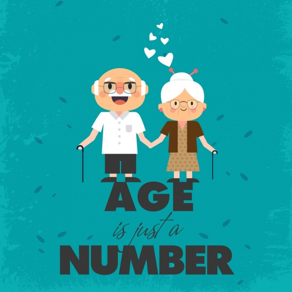 age banner old man woman icons texts decor