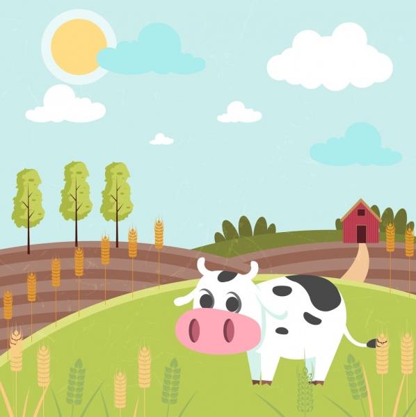 agricultural farm drawing cow field icons colored cartoon