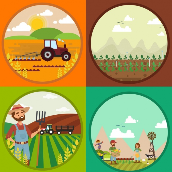 agriculture background templates circle isolation colored cartoon