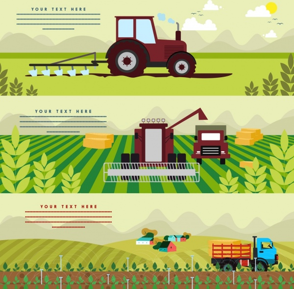 agriculture banner sets machine car field crop icons