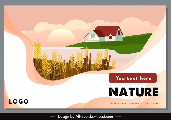 agriculture banner template bright colorful wheat house sketch