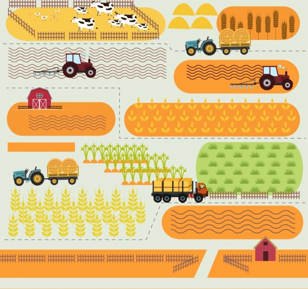 agriculture drawing cattle machines crop icons