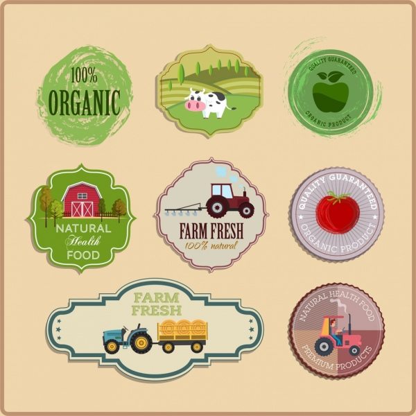 agriculture labels collection colorful circle shapes