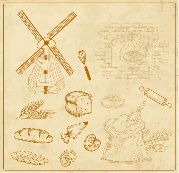 agriculture products background flour bread icons classical design