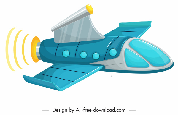 aircraft icon colored modern 3d shape