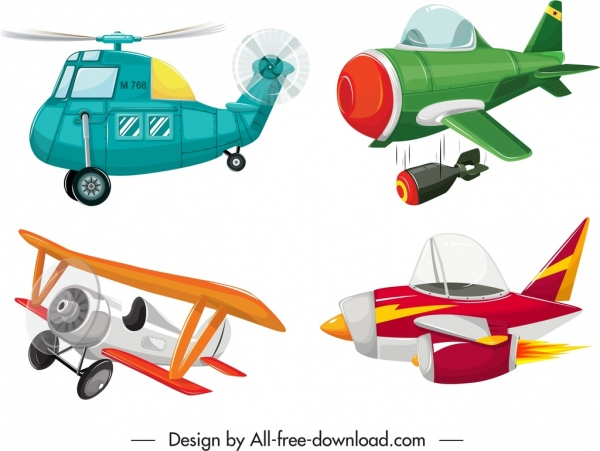 airplanes icons templates colorful motion sketch