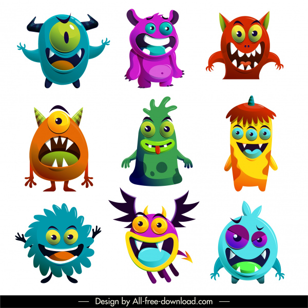 alien monsters icons funny cartoon characters
