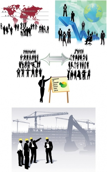all kinds of business people silhouette vector