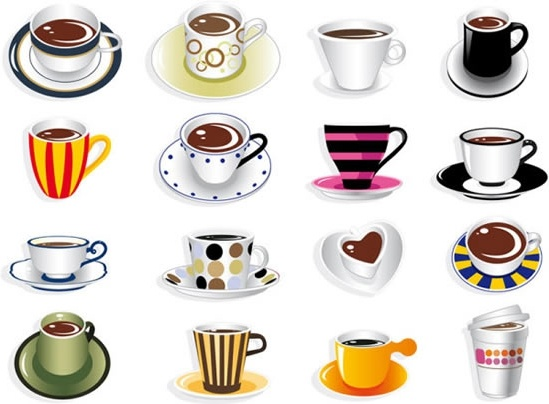 coffee cups icons modern colorful 3d sketch