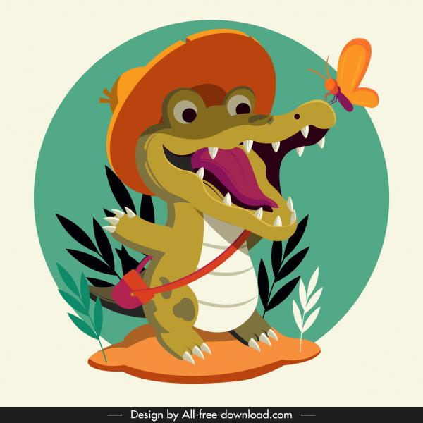 alligator icon funny stylized cartoon sketch