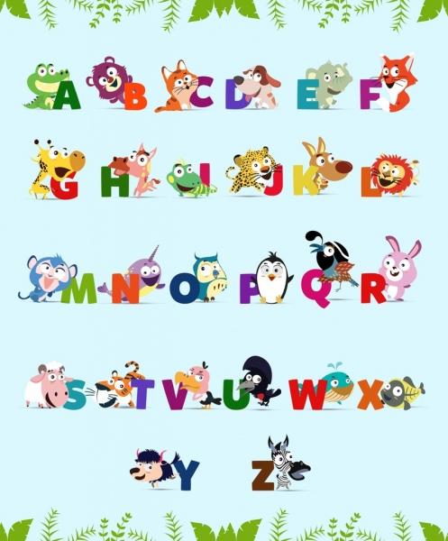 alphabet background cute colorful animals icons decor