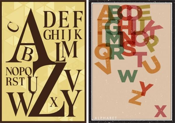 alphabet background sets multicolored texts decoration