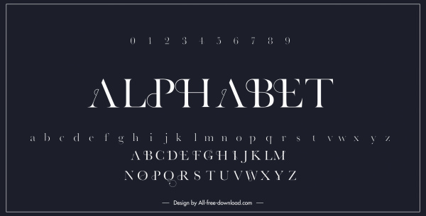 alphabet background template modern dark black white design