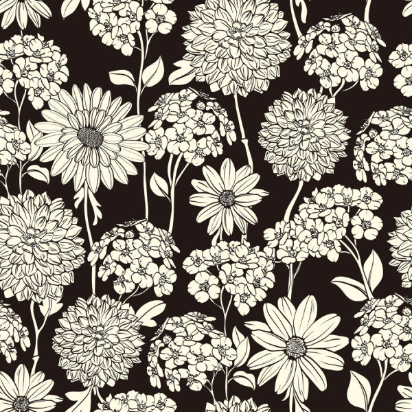 Amazing flower drawing background vector Free vector in