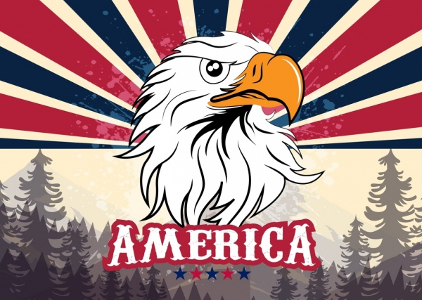 america banner eagle icon forest landscape background