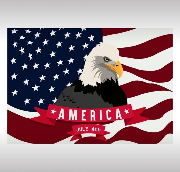 america banner flag eagle icons decor