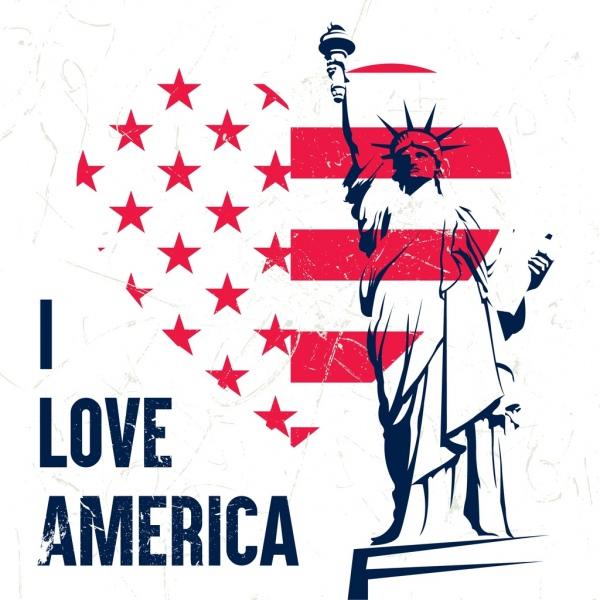 america banner heart flag elements liberty statue decor