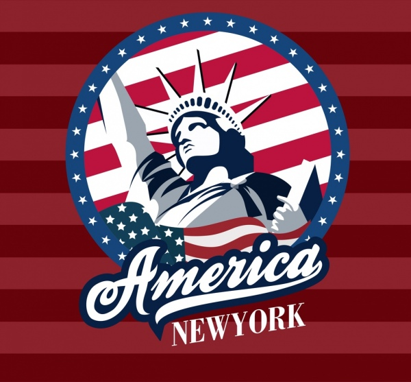 america logo design liberty statue flag texts decor