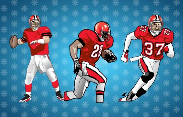 American Football Players Vector Free Vector In Adobe