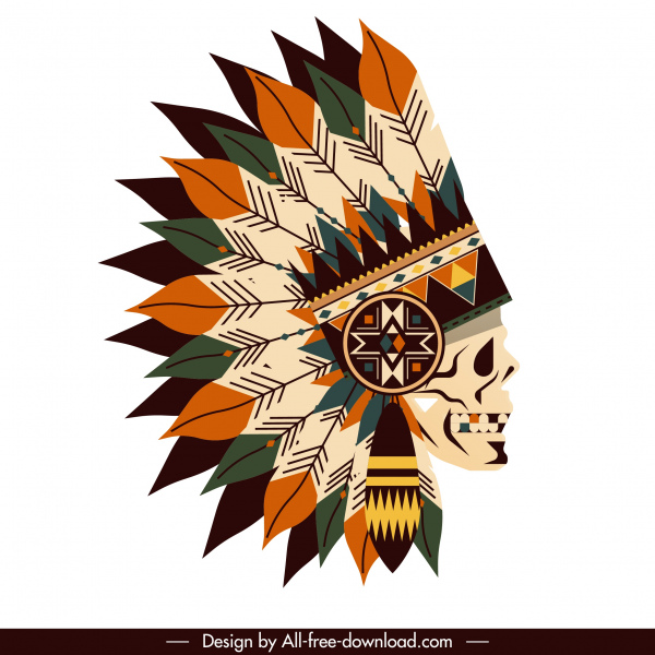 american tribal hat icon skull feather decor