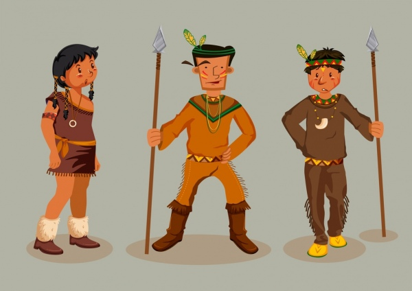 american tribal person icons traditional costume colored cartoon