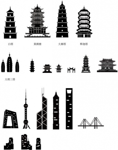 ancient and modern chinese architecture silhouette vector free