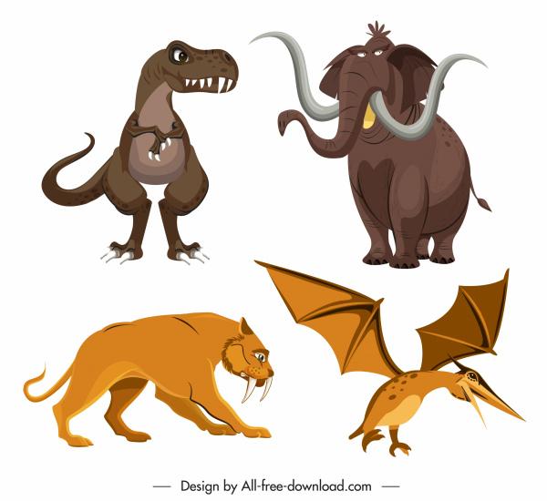 ancient animals icons colored cartoon design