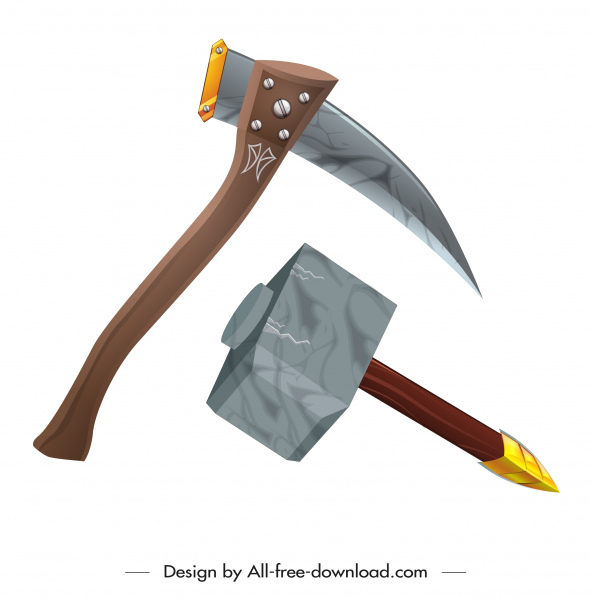 ancient ax hammer weapon icons 3d modern sketch