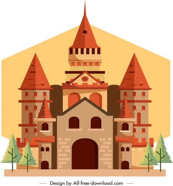ancient castle template classical colorful design