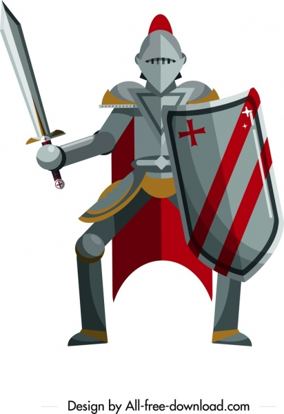 ancient knight icon iron armor decor cartoon design