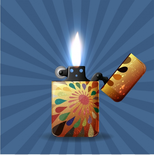 ancient lighter icon 3d colorful realistic design