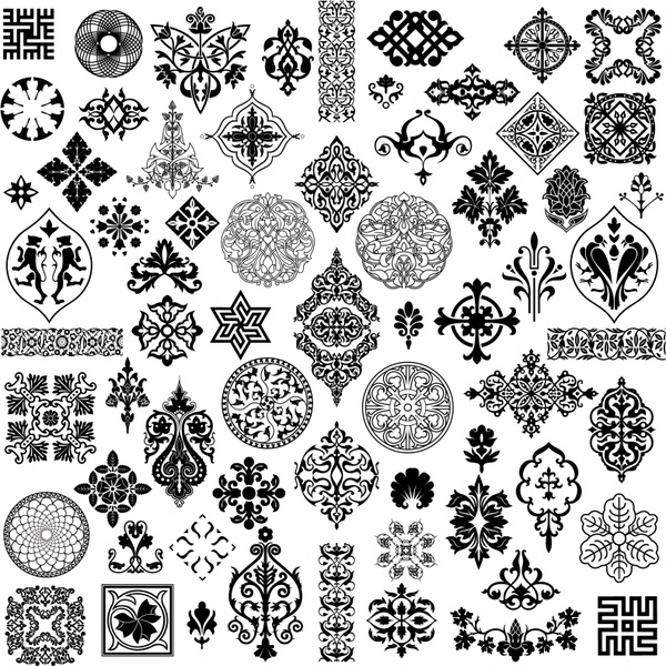 pattern design elements collection black white retro symmetry