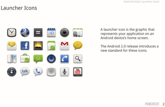 android 20 icon design psd layered file