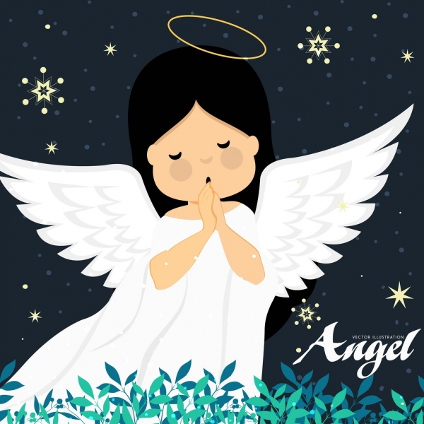 angel drawing cute girl icon colored cartoon design